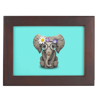 Hippie lindo del elefante del bebé caja de recuerdos