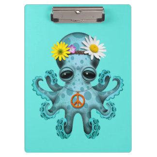 Hippie lindo del pulpo del bebé azul carpeta de pinza