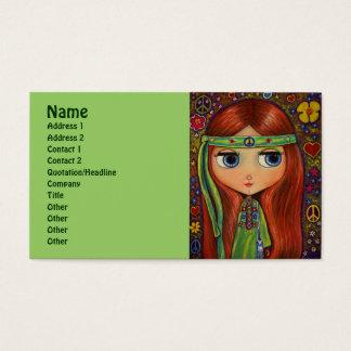 Hippie verde con la venda del signo de la paz tarjeta de visita