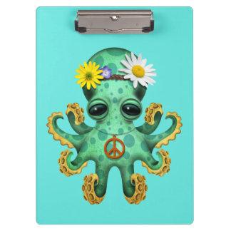 Hippie verde lindo del pulpo del bebé carpeta de pinza
