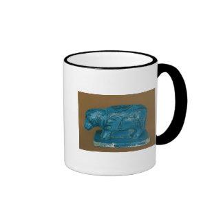 Hippopotamus azul con la decoración negra taza de dos colores