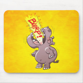 Hippopotamus Burping en alta voz Alfombrilla De Ratón