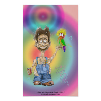 Hippy con el pájaro impresiones