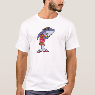 Hippy divertido del tiburón en la playa camiseta