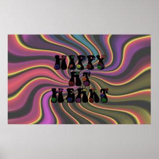 Hippy en el corazón 60s retro poster