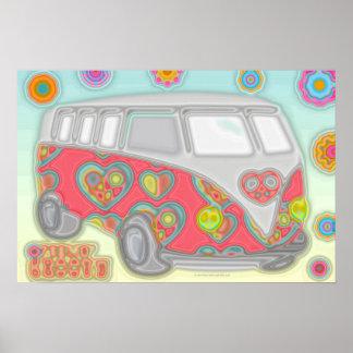 Hippy maravilloso Van del flower power 60s Póster