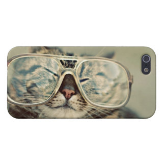 hipster cat iPhone 5 protectores