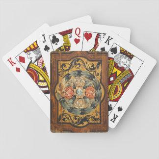 hist gótico viejo de la pintura del vintage de barajas de cartas