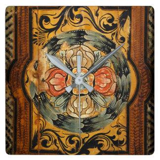 hist gótico viejo de la pintura del vintage de reloj cuadrado