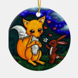 historia de amor del zorro y de las liebres adorno navideño redondo de cerámica