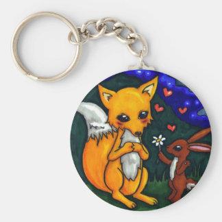 historia de amor del zorro y de las liebres llavero redondo tipo chapa