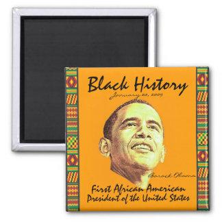Historia negra imán cuadrado