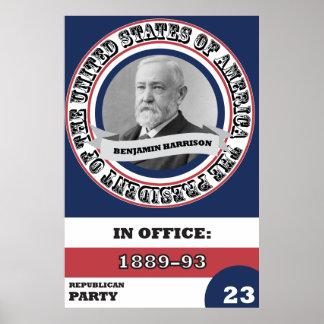 Historia presidencial de Benjamin Harrison retra Póster