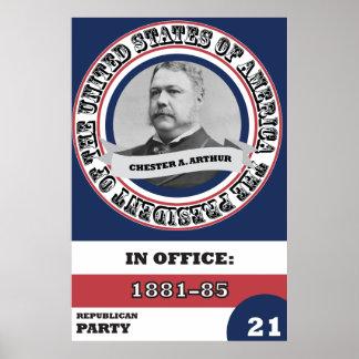 Historia presidencial de Chester A. Arthur retra Póster
