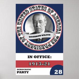 Historia presidencial de Woodrow Wilson retra Póster