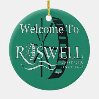 Histórico, Roswell, Georgia, navidad, ornamento Adorno Navideño Redondo De Cerámica