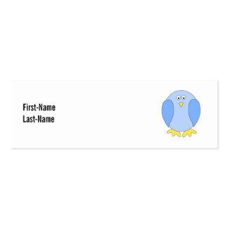 Historieta azul clara linda del pájaro tarjetas de visita mini
