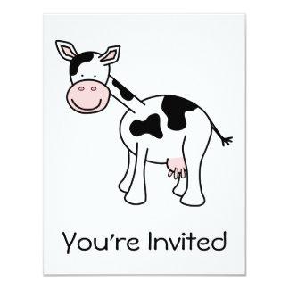 Historieta blanco y negro de la vaca invitación 10,8 x 13,9 cm