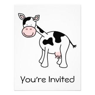 Historieta blanco y negro de la vaca comunicados personalizados