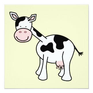 Historieta blanco y negro de la vaca invitación 13,3 cm x 13,3cm