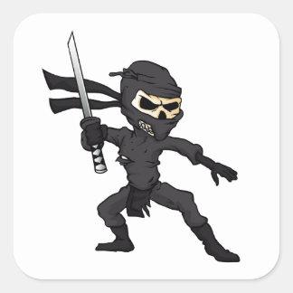 historieta del ninja del cráneo pegatina cuadrada