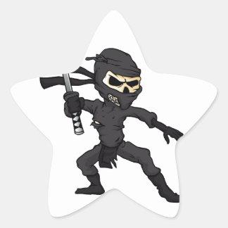 historieta del ninja del cráneo pegatina en forma de estrella