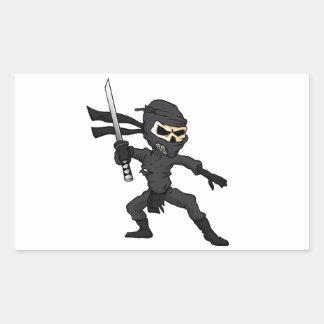 historieta del ninja del cráneo pegatina rectangular