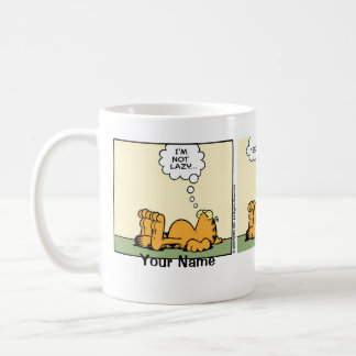 "Historieta ""perezosa"" con clase de Garfield Taza Básica Blanca"