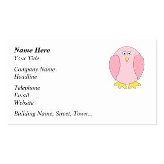 Historieta rosada bonita linda del pájaro tarjetas de visita