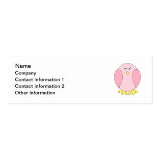 Historieta rosada bonita linda del pájaro tarjetas de visita mini