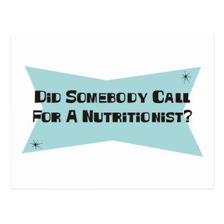 Hizo alguien llamada para un nutricionista tarjeta postal