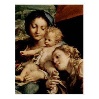 Hl del DES de Correggio Madonna. Hieronymus (etiqu Postal