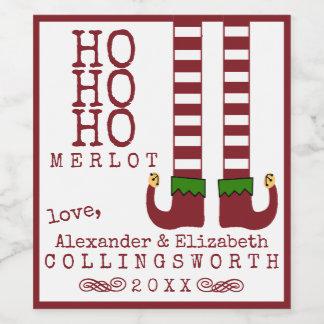 Ho Ho Ho etiqueta del vino del navidad del Merlot