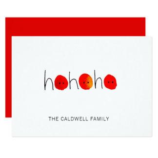 Ho Ho Ho navidad pintado a mano rojo y negro Invitación 12,7 X 17,8 Cm