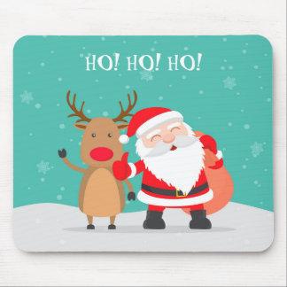 ¡Ho! ¡Ho! ¡Ho! Papá Noel con Rudolph Mousepad Alfombrilla De Ratón