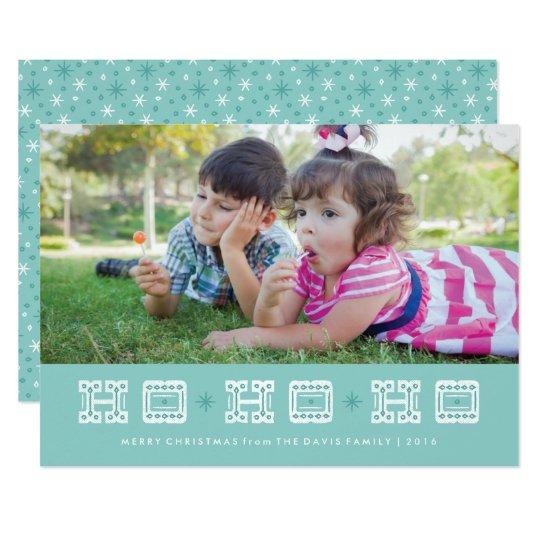 Ho Ho Ho tarjeta tipográfica del día de fiesta - Invitación 12,7 X 17,8 Cm