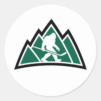 """Hockey 3"""" de Sasquatch pegatina redondo (hoja de"""