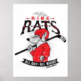 Hockey de las ratas de la pista póster