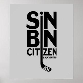 Hockey del ciudadano del compartimiento del pecado póster