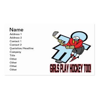 Hockey del juego de los chicas también tarjetas de visita