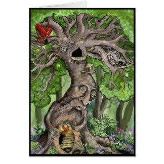 Hogar de hadas del árbol tarjeta de felicitación
