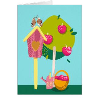 Hogar de la casa móvil de la casa del pájaro nuevo tarjeta de felicitación