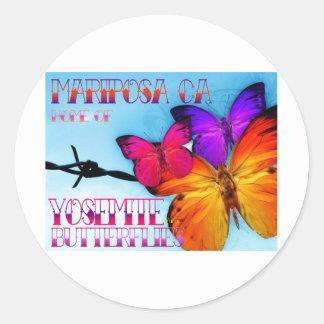 Hogar de Mariposa de Yosemite y de mariposas Etiqueta Redonda