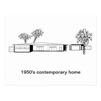 hogar del contemporáneo de los años 50 postal