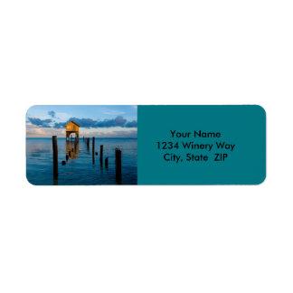 Hogar en el océano en el Ambergris Caye Belice Etiquetas De Remite