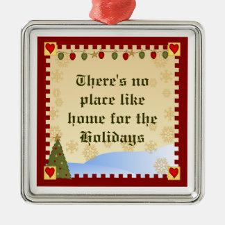 Hogar para el ornamento del navidad de los días de adorno navideño cuadrado de metal