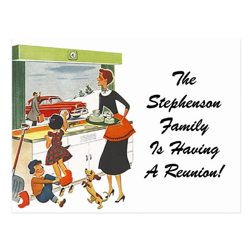 Hogar retro de la reunión de familia del vintage d postales