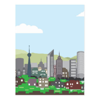Hogares y rascacielos del vector de las colinas postal