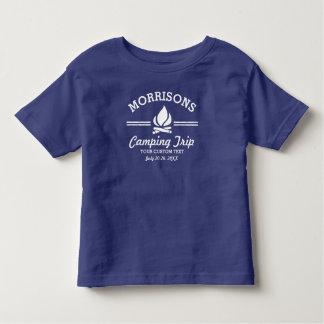 Hoguera retra de la acampada de la reunión de camiseta de bebé