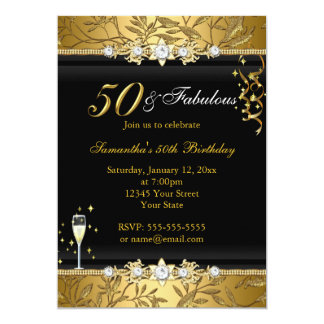 Hoja 50 de la joya del oro y invitación fabulosa